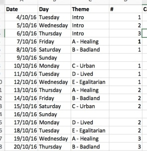 Screenshot of my posting schedule spreadsheet.