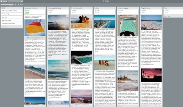 Screencap of my Trello 'Beach Instagram' board.